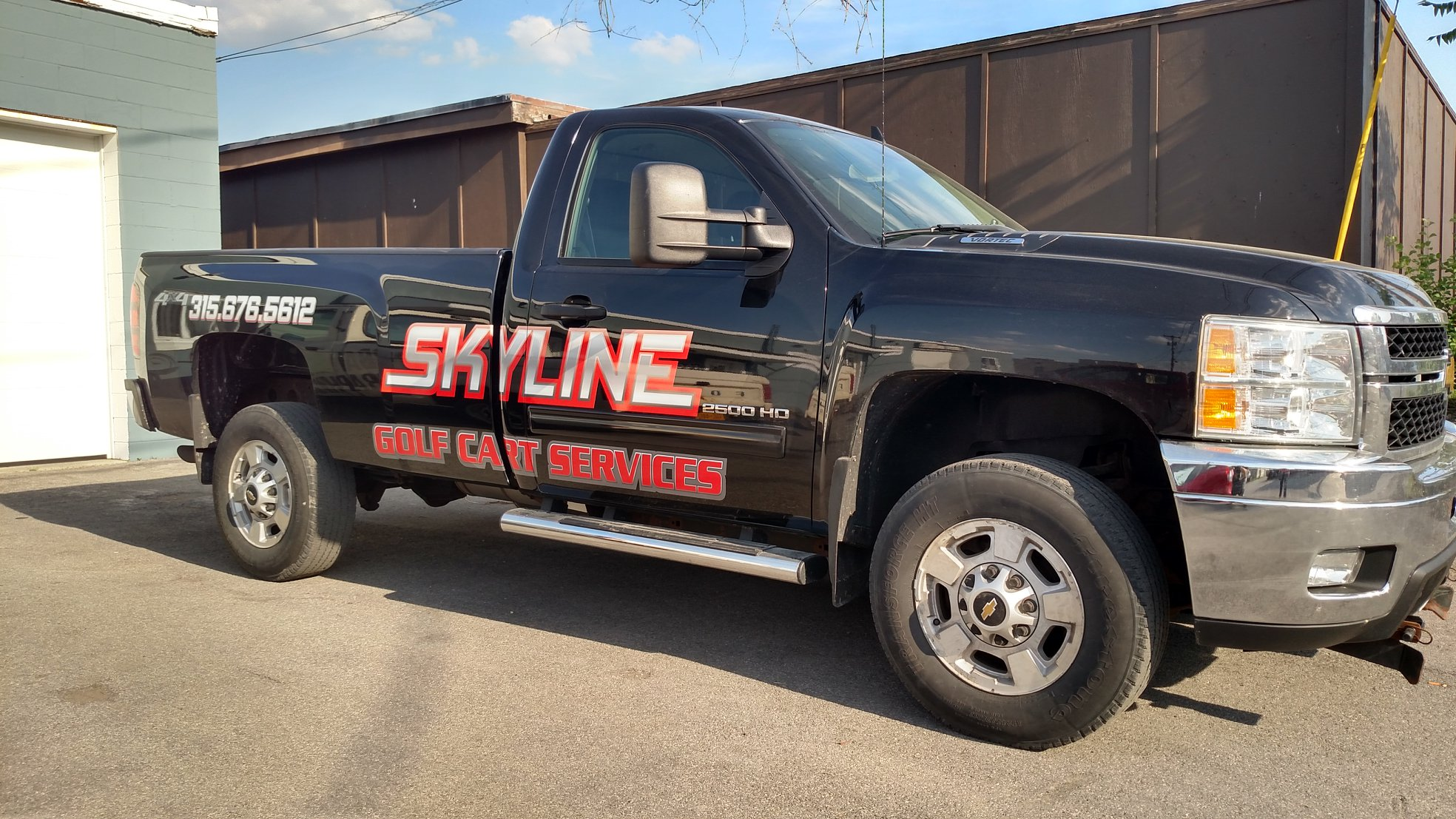 Truck vinyl graphics with cool lettering