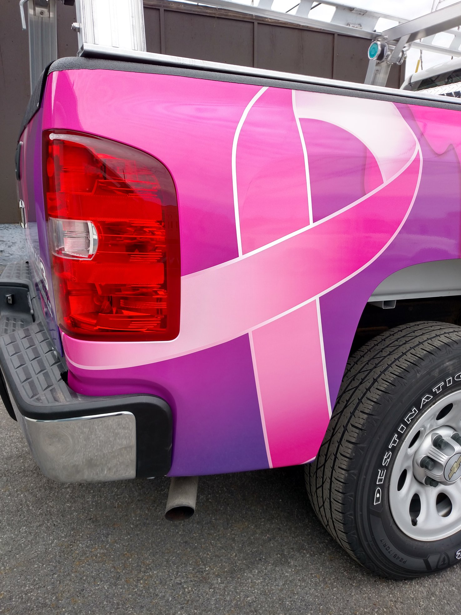 pink ribbon truck wrap for local small business
